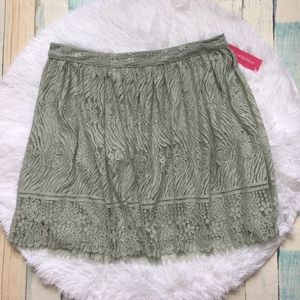 Xhilaration Floral Lace Green Skirt Sz L